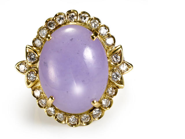 A lavender jade and diamond ring