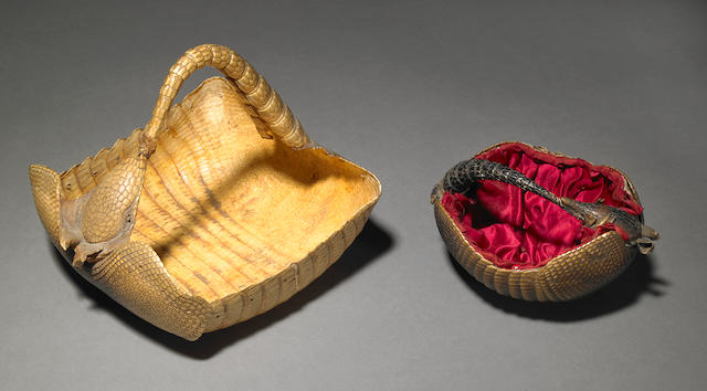Two Victorian Taxidermic Armadillo Baskets