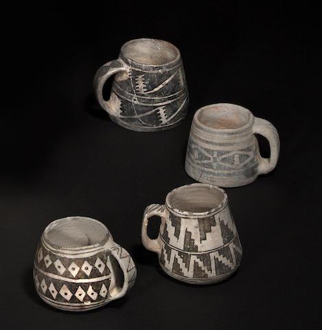 Four Mesa Verde black-on-white mugs