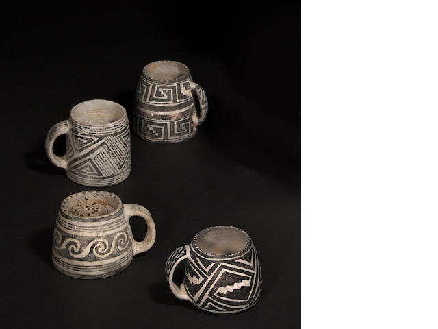 Four Mesa Verde black-on-white mugs
