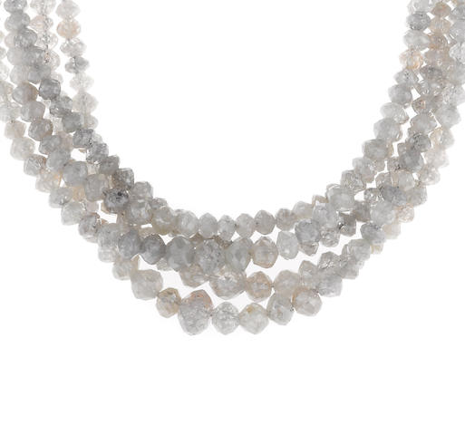 A diamond bead five-strand necklace