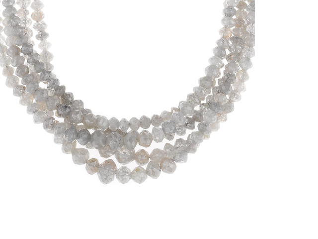 A diamond bead graduated necklace