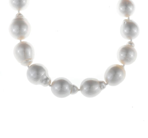 A baroque South Sea cultured pearl and diamond necklace