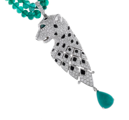 An emerald, diamond and enamel pendant/necklace