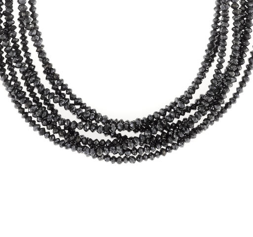 A black diamond torsade necklace