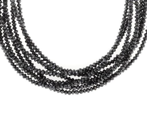 A black diamond torsade necklace