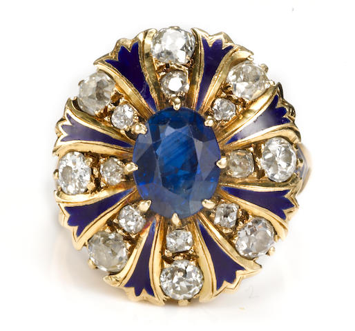 A sapphire, diamond and enamel ring