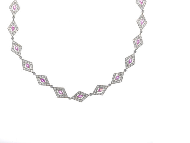 A pink sapphire and diamond geometric necklace