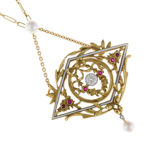 A diamond, ruby, cultured pearl and enamel pendant/necklace