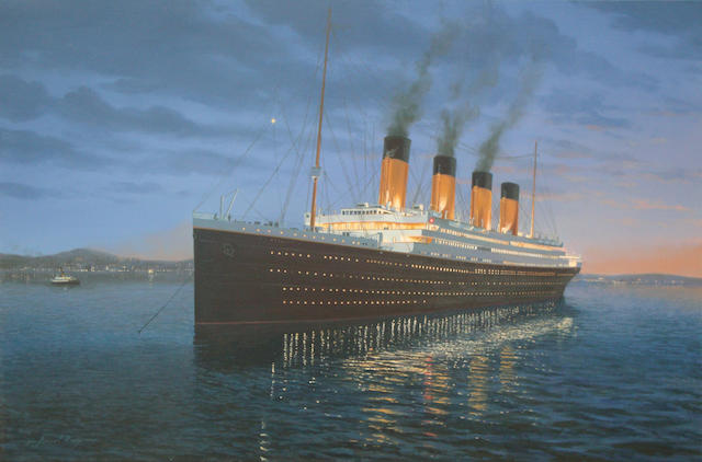 Adrian Rigby (British, born after 1962-) Titanic at Anchor 30 x 20 in. (76.2 x 50.8 cm.)