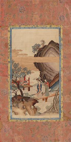 A small kesi-woven silk figural panel 20th century