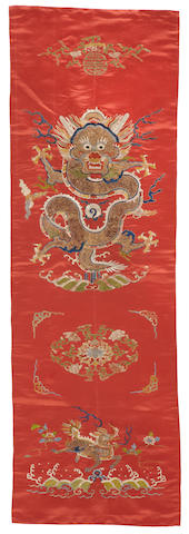 A red silk embroidered chair cover, kaobei 19th century