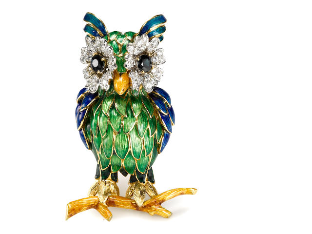 A sapphire, diamond and enamel owl brooch, Moba