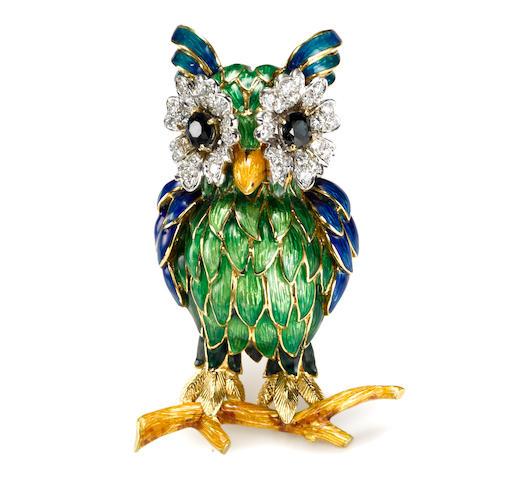 A sapphire, diamond and enamel owl brooch, Moba