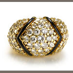 A diamond and enamel pavé-set dome ring