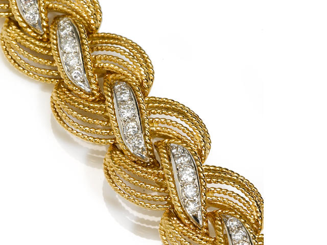 A diamond and eighteen karat gold bracelet, Hammerman Bros.