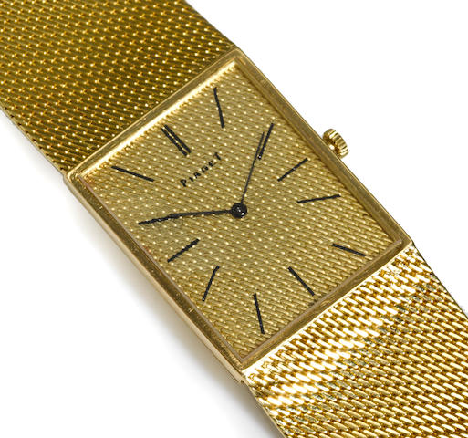 An eighteen karat gold integral mesh bracelet wristwatch, Piaget