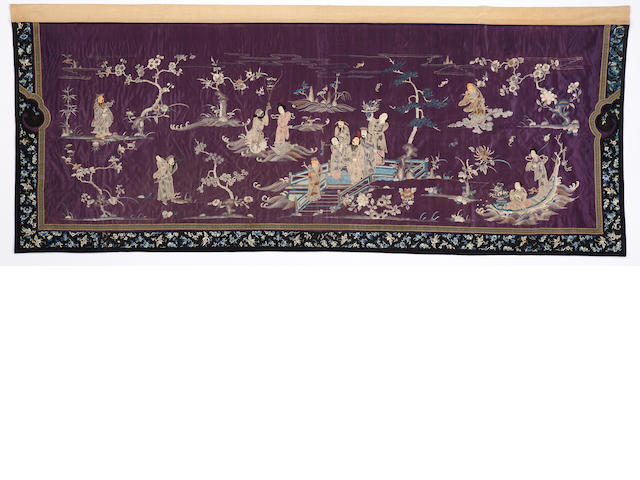 A dark blue satin ground panel with embroidered decoration Late Qing dynasty