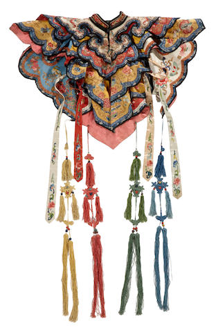 An embroidered silk collar and streamers Late Qing dynasty