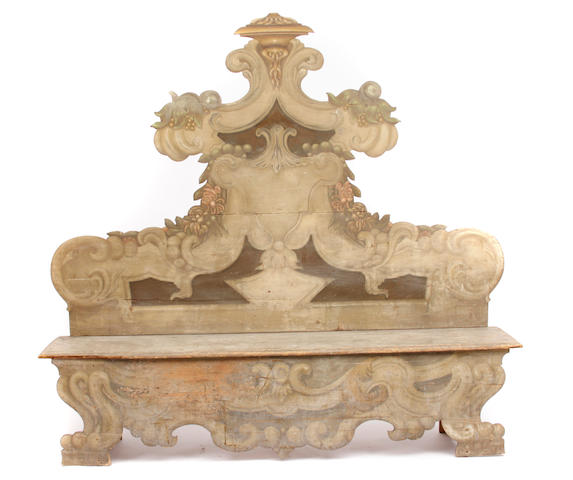An Italian Rococo style paint decorated cassapanca