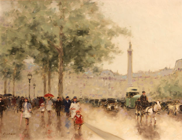 André Gisson (American, 1921-2003) Place du Châtelet, Paris 12 x 16in