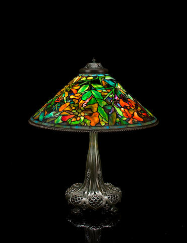 A Tiffany Studios Favrile glass and patinated-bronze Trumpet Creeper table lamp circa 1910