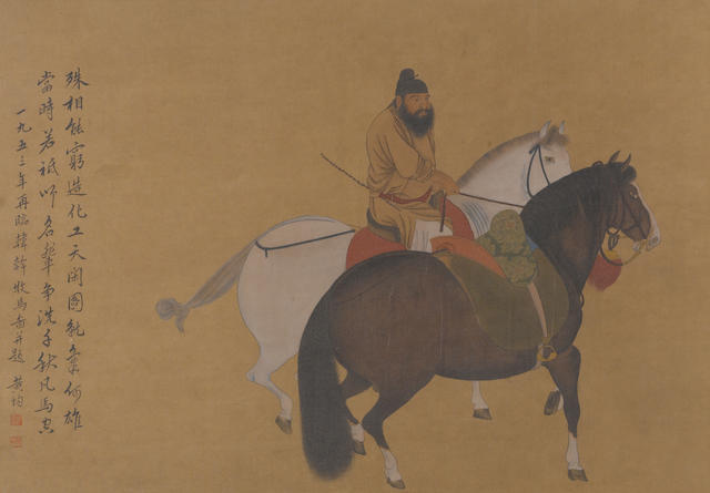 Huang Jun (?) Horses and Groom in the stle of Han Gan, ink and color on silk, framed and glazed
