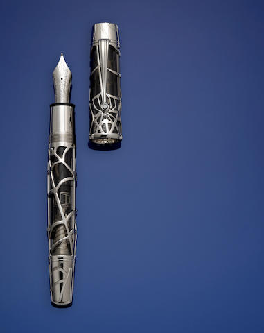 MONTBLANC: Magical Black Widow Skeleton White Gold Limited Edition 88 Fountain Pen