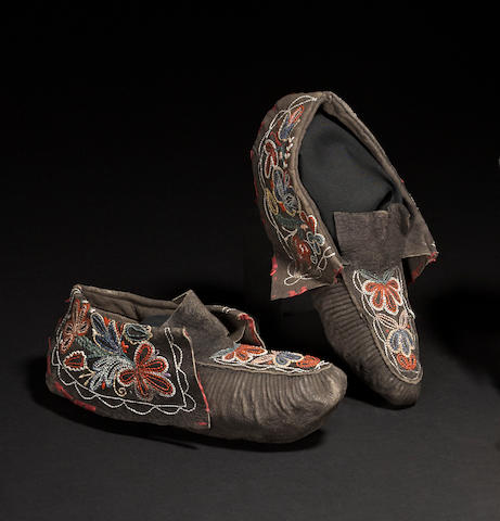 A pair of Huron quilled moccasins