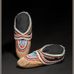 A pair of Micmac beaded moccasins