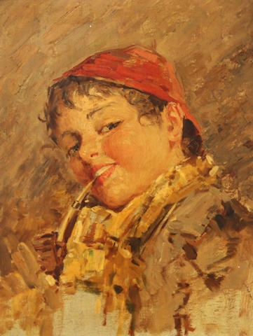 Italian School, late 19th/early 20th Century A study of a young boy 15 1/4 x 11 1/2in
