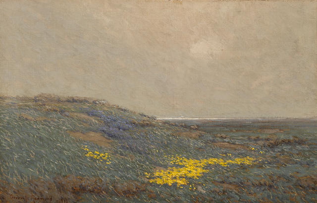 Granville Redmond (American, 1871-1935) Coastal wildflowers, 1912 19 1/2 x 30in