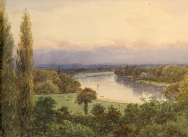Frederick Charles Dixey The Thames at Richmond, England sight 11 x 15 1/2in
