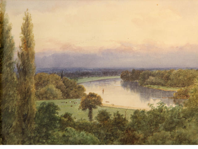 Frederick Charles Dixey (British), The Thames at Richmond, signed and dated: June 1902, pencil and wc, 11 x 15 1/2in