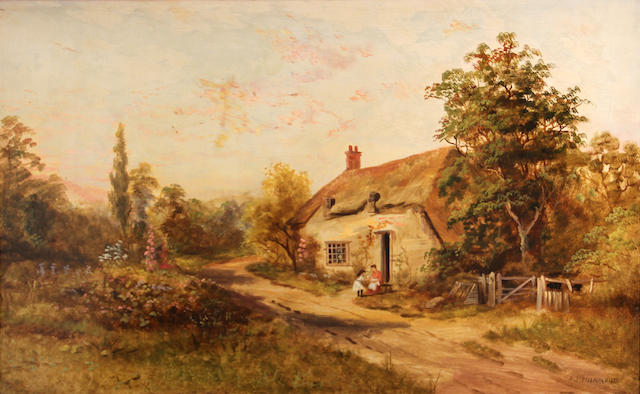 A.J. Hammond, A rustic scene with figures outside a cottage, signed, o/c, 20 x 30in