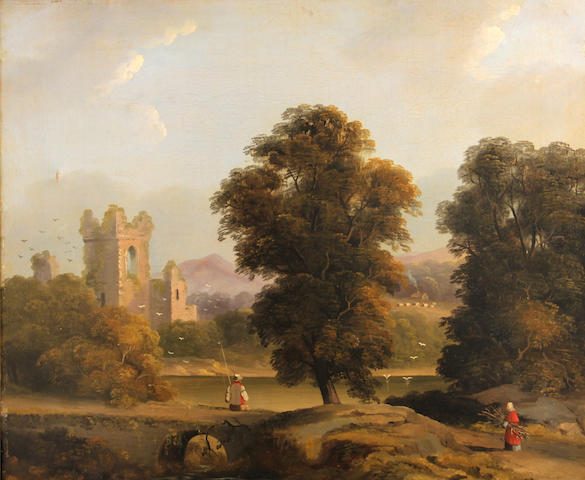 English School, 19th Century A river landscape with ruins of a church 20 x 24in