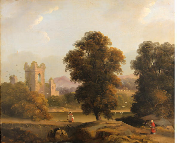 English School 19th C., A landscape with church, o/c, 19 1/2 x 24 1/2in