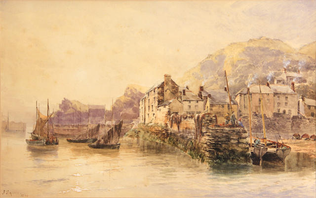 J. Squires, A fishing village, signed and dated: 1869, pencil and wc heightened with white, 12 3/4 x 20 1/2in