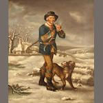 Follower of Thomas Barker of Bath (British 1769-1847), A woodman with his dog in winter, o/c, 24 x 20in