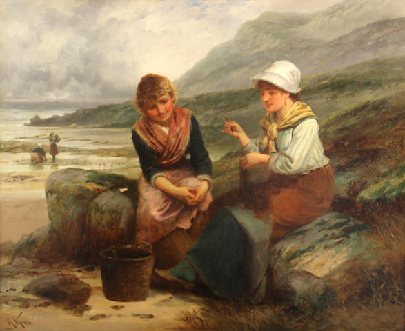 Robert Kemm (British, 1837-1895) Fishergirls mending nets on the beach 20 x 24in