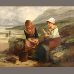 Robert Kemm (British 1837-1895), Fishergirls mending nets, signed, o/c, 20 x 24in
