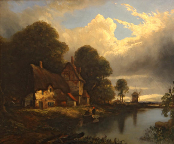 English School, 19th Century A cottage with a windmill in the distance; A cottage in a hilly landscape (2) first, 10 x 12 3/4in; second, 8 1/4 x 12in