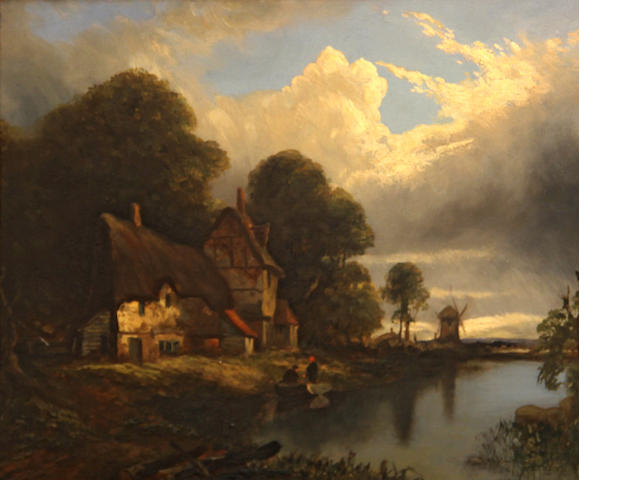 English School 19th C., A cottage in a hilly landscape; and also another Cottage  scene (a pair), each o/panel, 8 x 11in