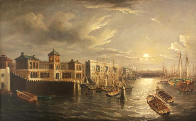 Joseph Paul (British 1804-1887), The Thames by moonlight, o/c, 24 x 36in