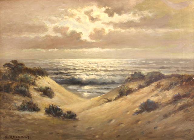 Nels Hagerup (Norwegian/American, 1864-1922) Sand dunes at sunset 18 x 24in