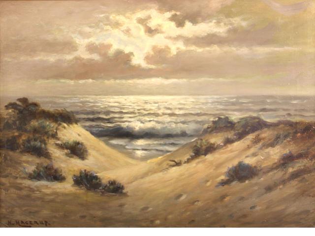 Nells Hagerup, Beach dunes, o/c, framed, s/l/l