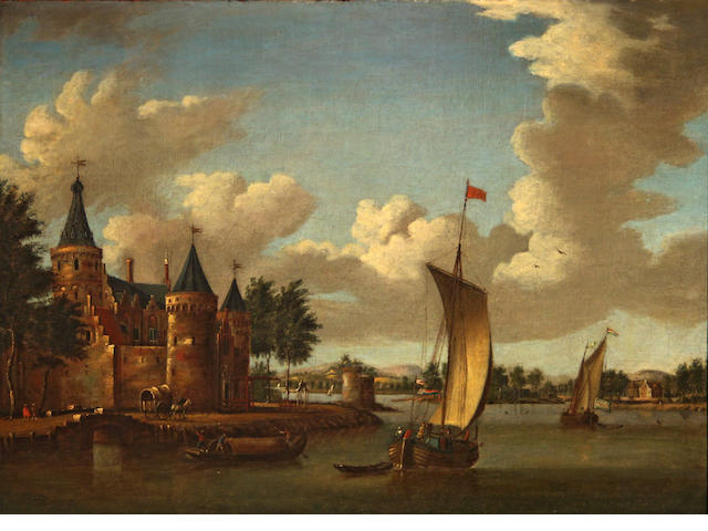 Dutch School (19th Century), A river scene with boats and castle, unsigned, oil on canvas, 10 x 14in