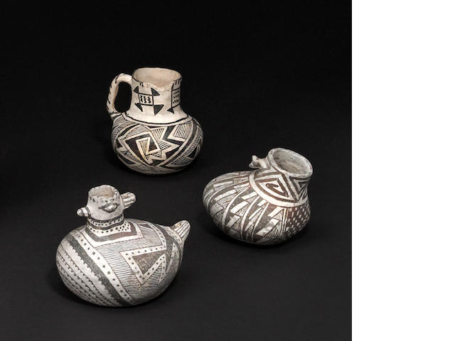 Three Anasazi black-on-white vessels