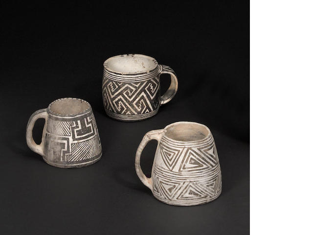 Three Mesa Verde black-on-white mugs