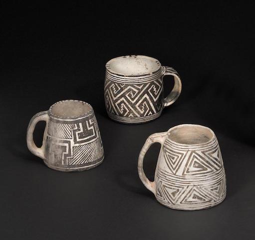 Three Mesa Verde black-on-white mugs